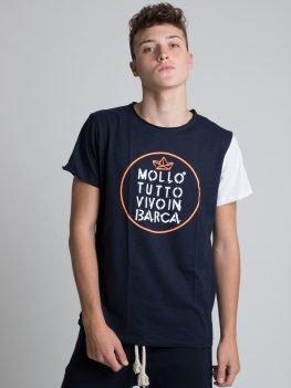 T-shirt Mollo Tutto unisex blu manica bianca