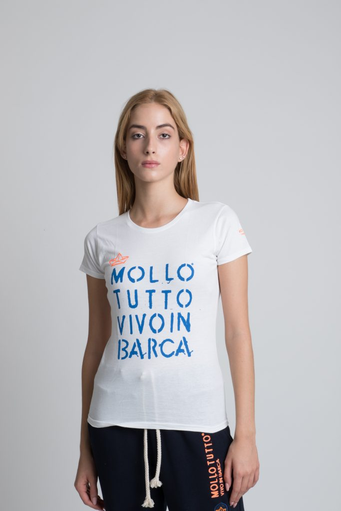 T-shirt girocollo Mollo Tutto vivo in barca Donna (bianco-blue royal-blu navy)