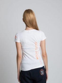 T-shirt girocollo Mollo Tutto vivo in barca Donna (bianco-blue royal-blu navy)