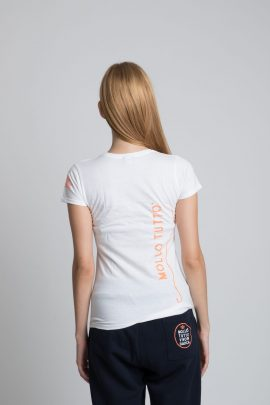 T-shirt girocollo Mollo Tutto vivo in barca Donna (bianco-blue royal)