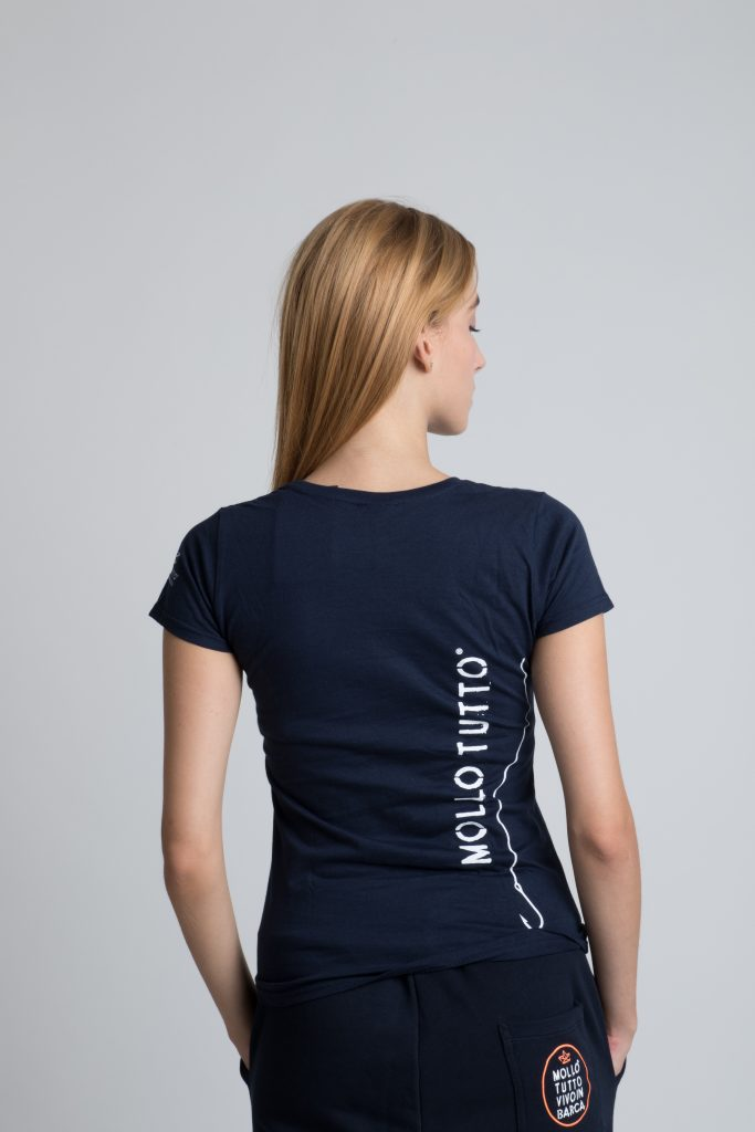 T-shirt donna catarifrangente (blu navy/bianco)