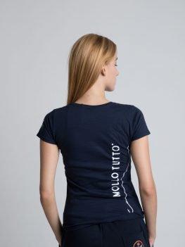 T-shirt donna catarifrangente (blu navy/bianco)