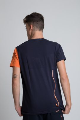 T-shirt Mollo Tutto Blu manica arancio unisex