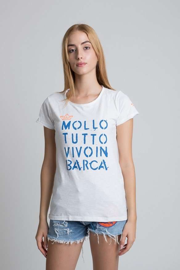 T-shirt donna slub mollo tutto vivo in barca