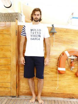 T-shirt unisex Mollo Tutto bianca manica righe
